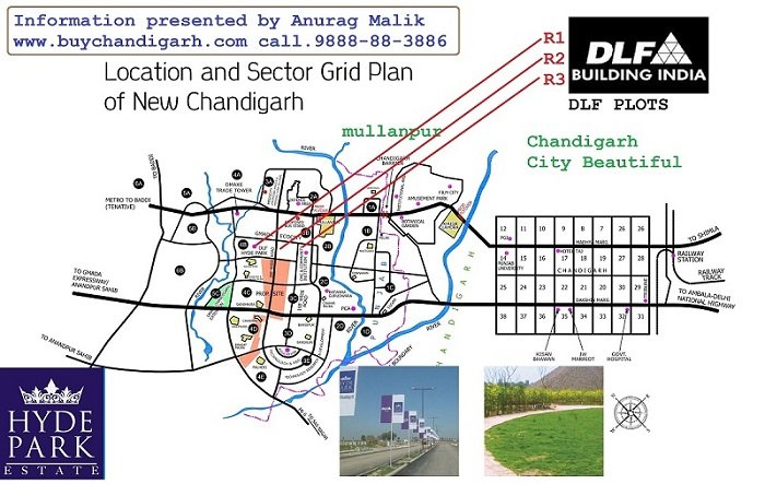dlf hyde park plots new chandigarh map